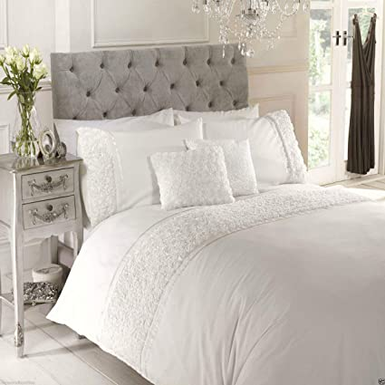 1259a4cb0bb6 Limoge Grey Duvet Quilt Cover Bedset Bedding Raised Rose and Ribbon, Grey,  King: Amazon.co.uk: Kitchen & Home