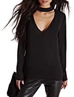 Haoduoyi Womens Plian V Neck Choker Long Sleeve Top T Shirt