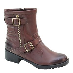 New Brieten Women's Buckle Middle Calf Flat Boots (8, Brown)
