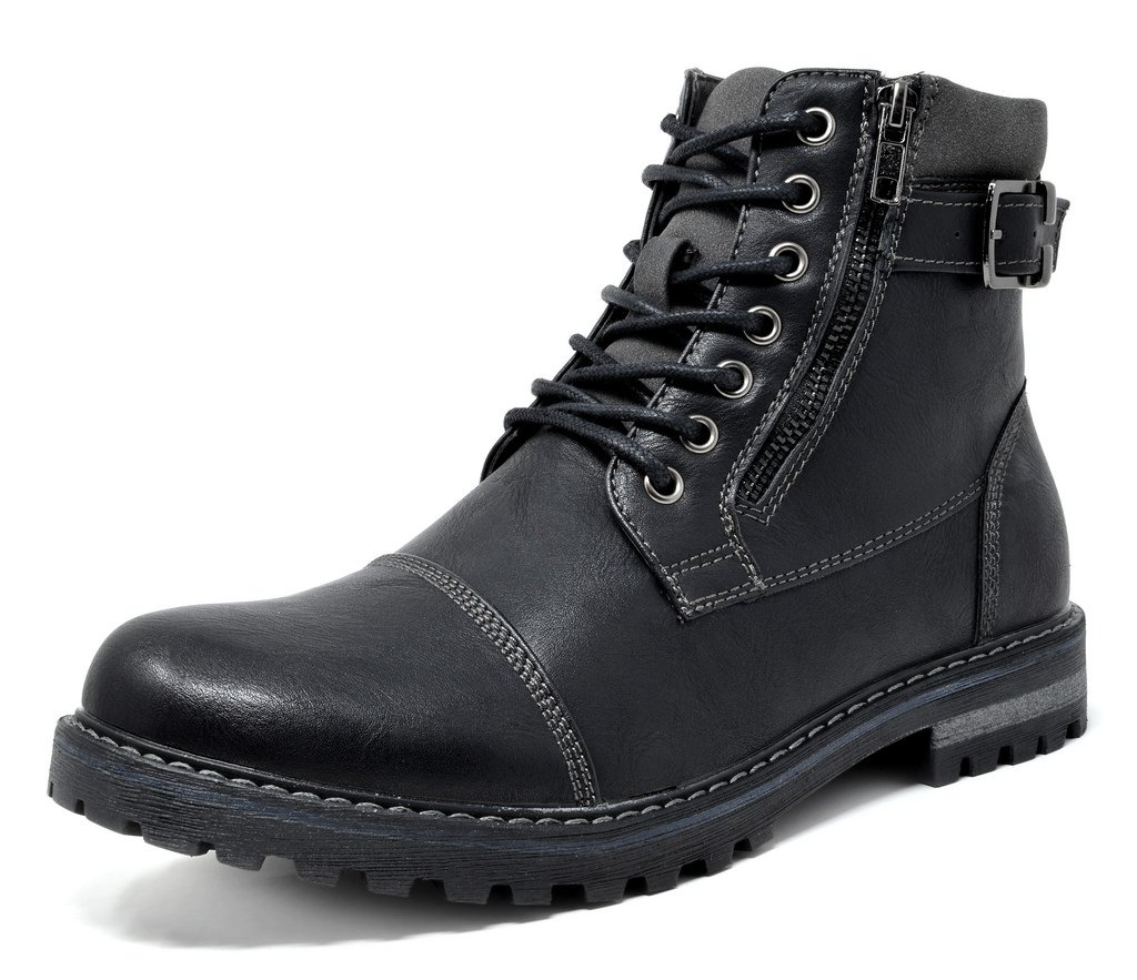 Bruno Marc Men's Engle-05 Black Motorcycle Combat Oxford Boots Size 13 M US by BRUNO MARC NEW YORK