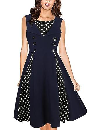 Damen Retro ärmellos Pompon Prinzessin Kleid Tupfen-Spleißen Knielanges  Kleid Schwingen Dress: Amazon.de: Bekleidung