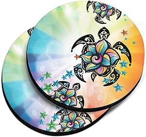 CARIBOU Coasters , Flower & Turtles Design Absorbent ROUND Fabric Felt Neoprene Car Coasters for Drinks, 2pcs Set