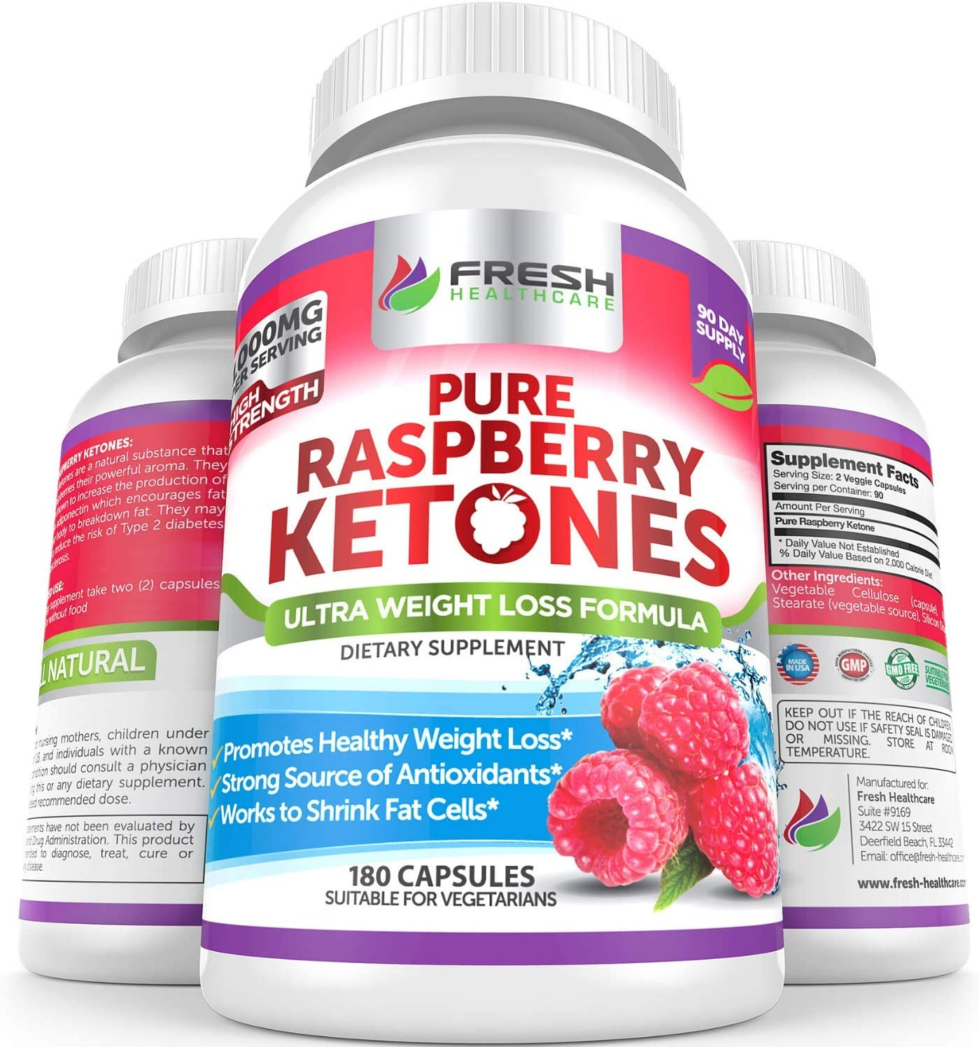 Amazon Com Pure 100 Raspberry Ketones Max 1000mg Per Serving 3 Month Supply Powerful Weight Loss Supplement Provides Energy Boost For Weight Loss 180 Capsules By Fresh Healthcare Health Personal Care
