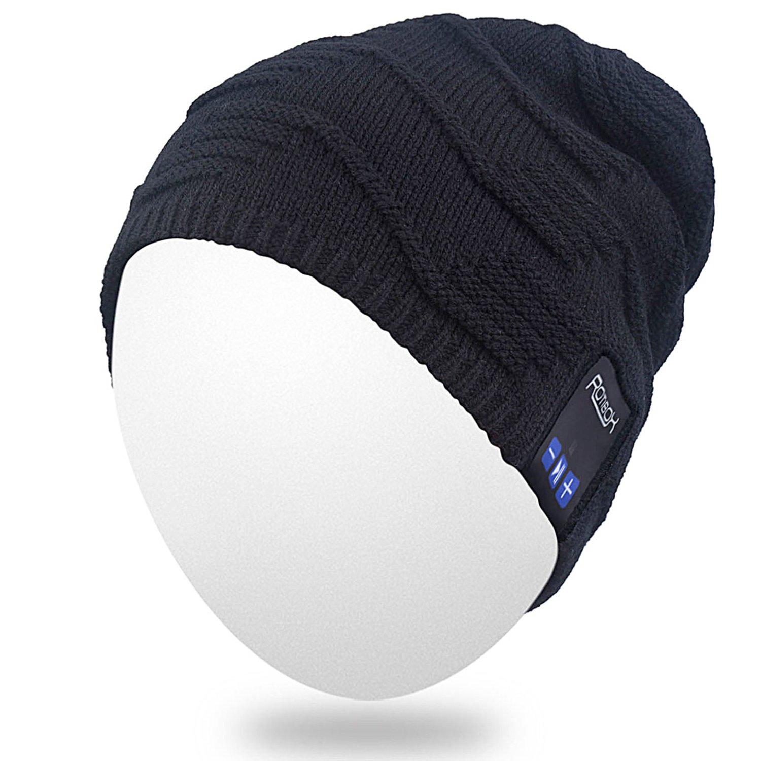 Qshell Outdoor Bluetooth Beanie Hat Slouchy Knit Skully Cap with Wireless Bluetooth Headphone Headset Earphone Music Audio Hands-Free Phone Call for Winter Sports Fitness Gym Exercise Workout - Black