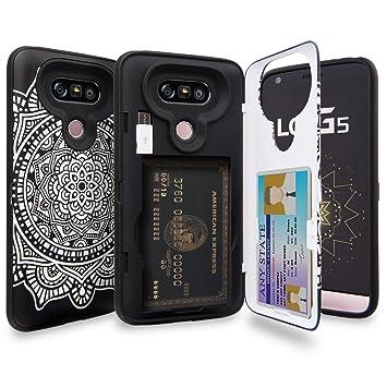 TORU CX Pro Funda LG G5 Carcasa Cartera Diseño Mandala con Tarjetero Oculto, Adaptador USB y Espejo para LG G5 - Dreamcatcher