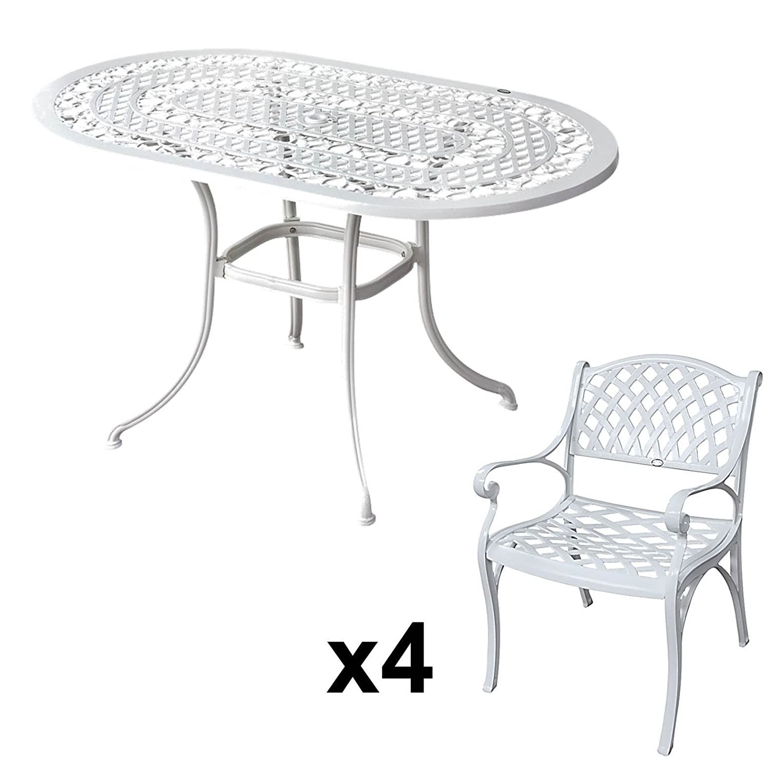 lazy susan elise 136 x 81 cm ovaler gartentisch mit 4 st hlen gartenm bel set aus metall. Black Bedroom Furniture Sets. Home Design Ideas