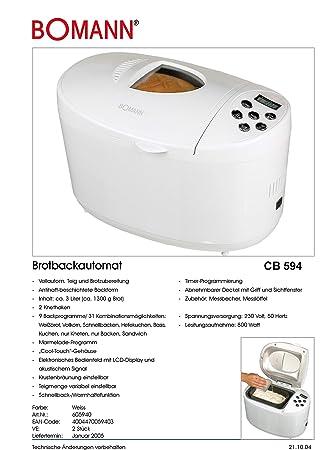 BOMANN Panificadora CB594