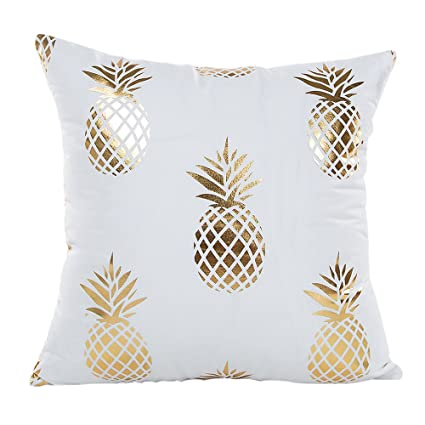 "Mhb Gold Foil Pineapple Throw Pillow Case Cushion Cover 18"" X 18"" by Mhb"