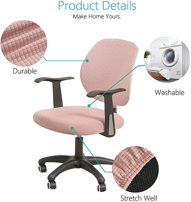 FORCHEER Office Chair Cover Water Resistant Pink Stretch Jacquard Elastic 2 Piece with arms Computer Chair Slipcover for Armrest Game Chairs