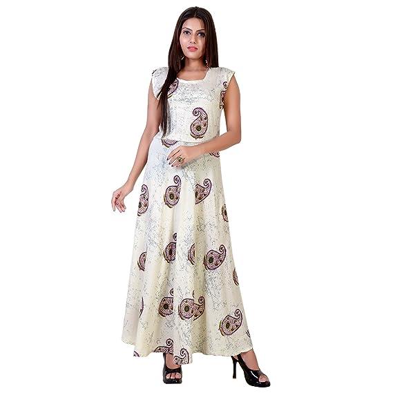 6602e8edb9f fabcolors Women s Rayon Paisley Print Long One Piece Dress (Off-white