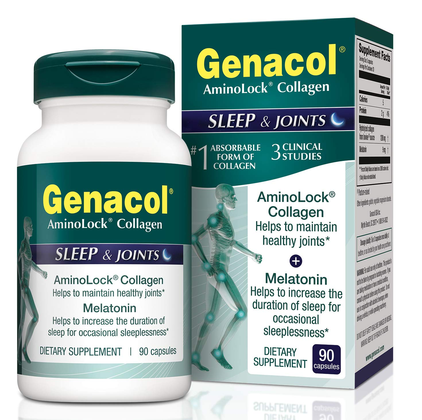 GENACOL Sleep & Joint Supplement for Men and Women | Melatonin + Hydrolyzed Collagen Peptides for