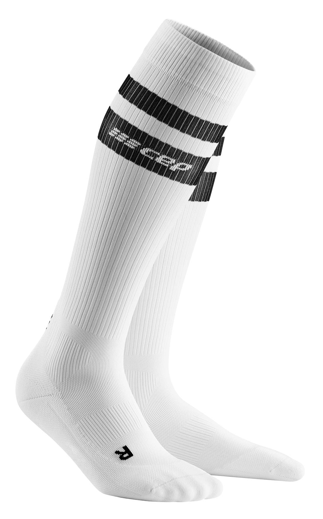 Men's Compression Socks - CEP 80's Compression Tall Socks, White/Black 5 by CEP