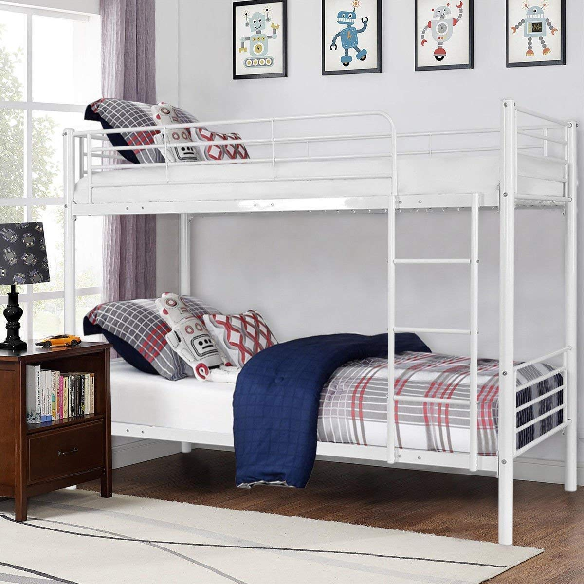 Costzon Twin Over Twin Bunk Bed, Metal Frame with Ladder Guard Rail for Boys & Girls Teens Kids Bedroom Dorm (White)