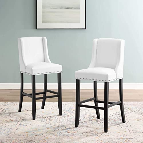 Modway Baron Bar Stool Faux Leather Set of 2, White