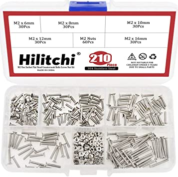 Hilitchi 260-Piece Metric M3 Hex Socket Flat Head Countersunk Bolts Screw Nut