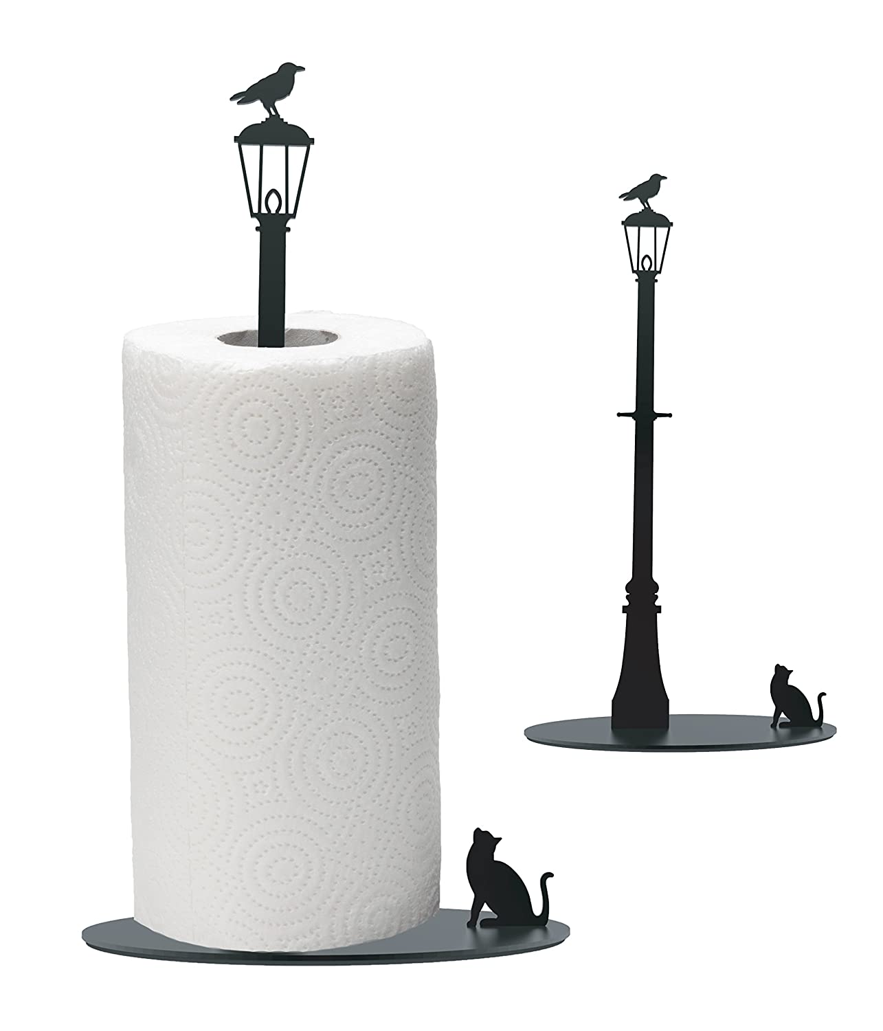 Amazon.com: AD164   Cat Vs. Crow   Black Metal Paper Towel Holder: Kitchen  U0026 Dining