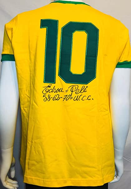 a066d712a80 Edson Pele Signed Brazil Soccer Jersey w  quot 58