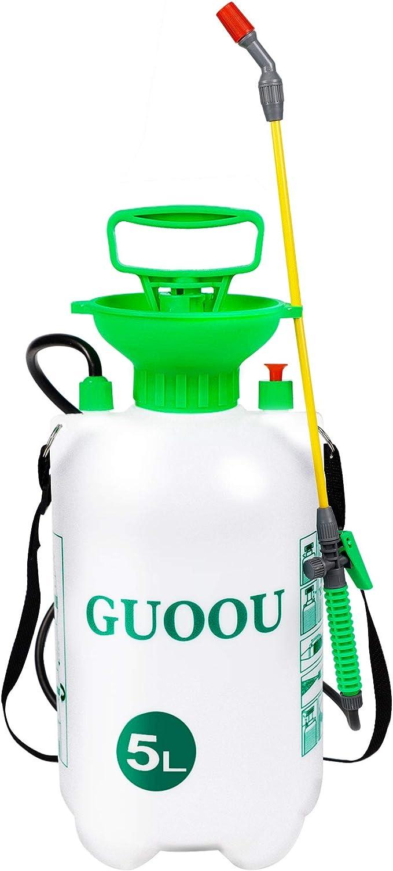 GUOOU 1.3 Gallon Pump Sprayer, Backpack Sprayer with Pump, Garden Pump Sprayers, Lawn Pressure Water Sprayer with Adjustable Shoulder Strap, Pressure Relief Valve