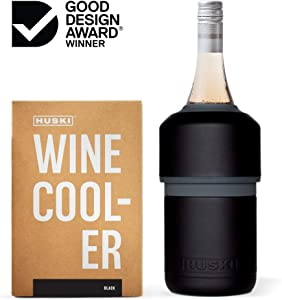 Huski Wine Cooler | Premium Iceless Wine Chiller | Keeps Wine Cold up to 6 Hours | Award Winning Design | New Wine Accessory | Fits Some Champagne Bottles | Perfect Gift for Wine Lovers (Black)