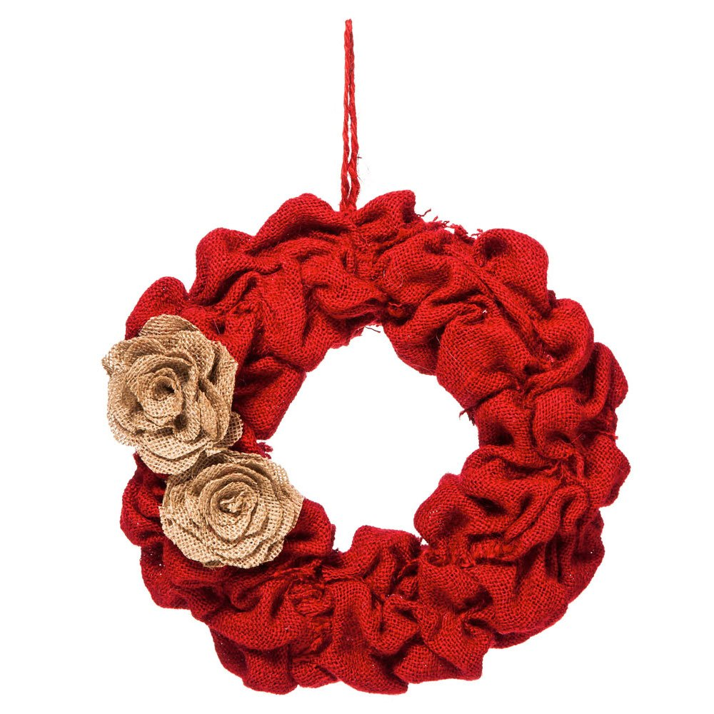 Red Holiday Burlap Wreath Evergreen Enterprises