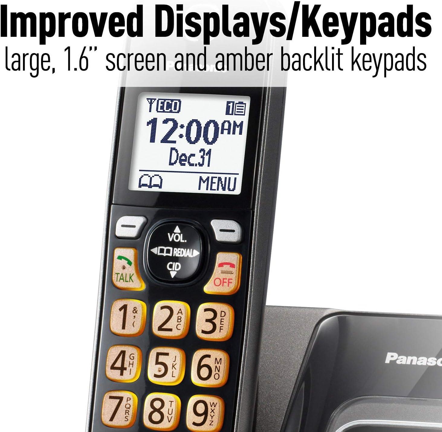 1 Cordless Handsets PANASONIC Expandable Cordless Phone System with Call Block and Answering Machine KX-TGD530M Metallic Black Renewed