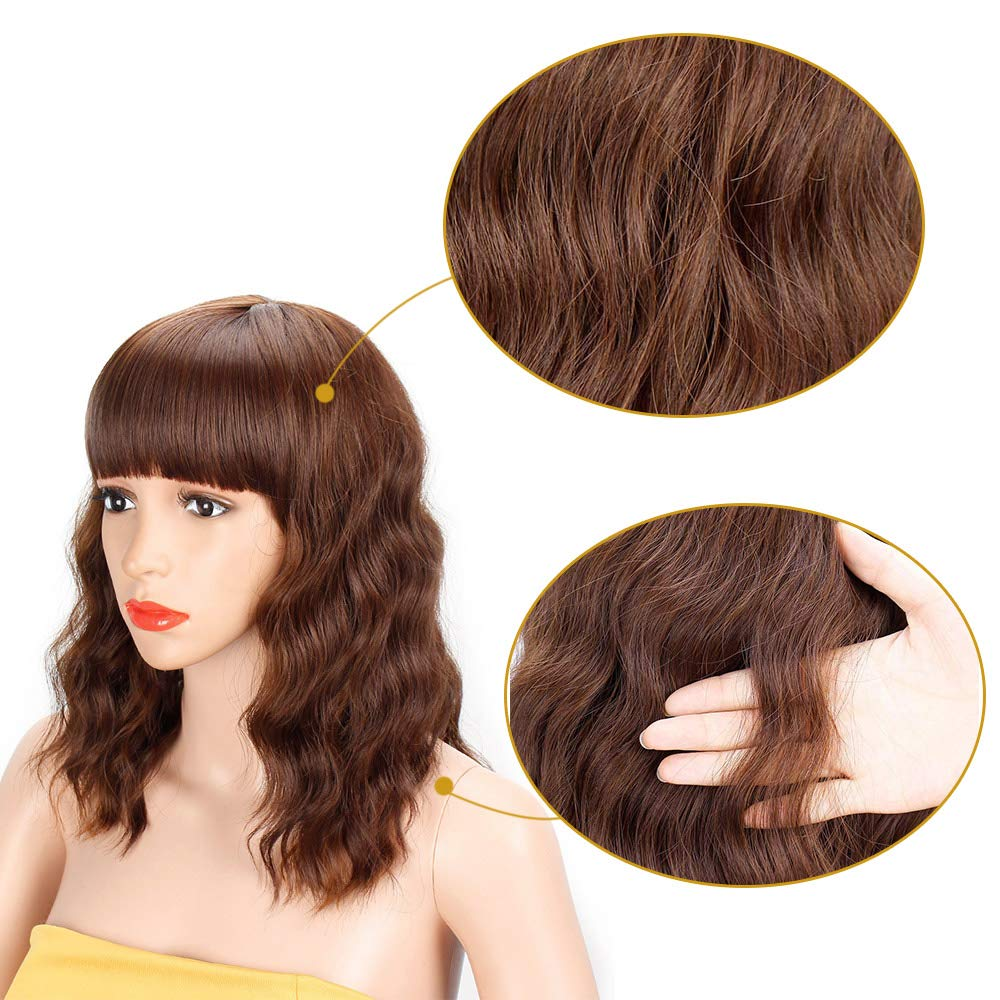 AISI HAIR Short Wavy Bob Wig with Bangs Colored Brown Mixed Blonde Short Curly Women Girls Charming Synthetic Wig Natural Looking Full Head Hair Replacement Wig for Daily Wear or Costume Wig
