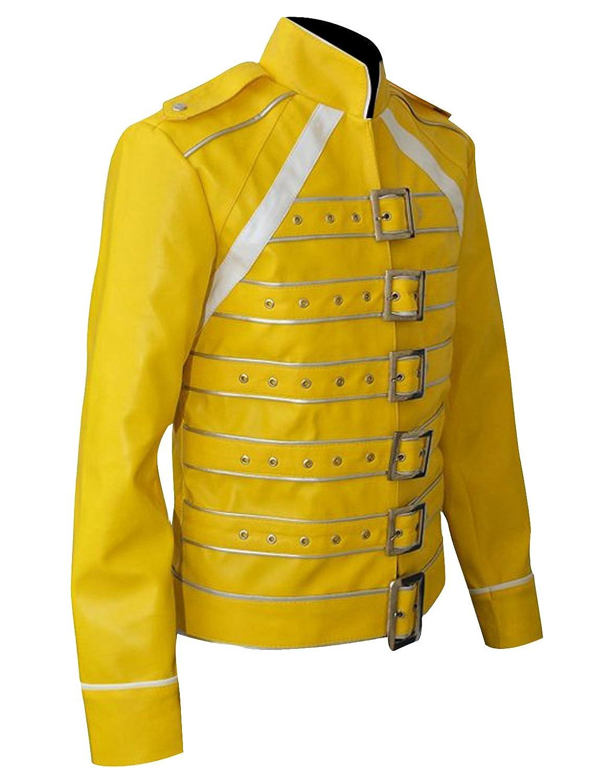 CHICAGO-FASHIONS Freddie Mercury Yellow Moto Faux Leather ...