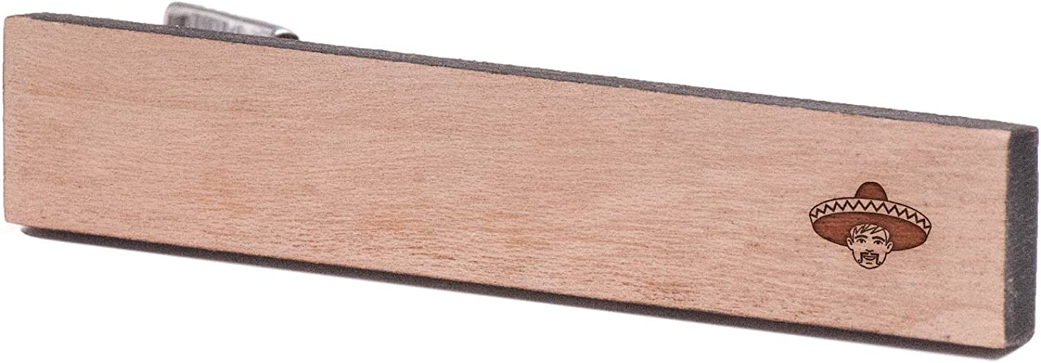 Cherry Wood Tie Bar Engraved in The USA Wooden Accessories Company Wooden Tie Clips with Laser Engraved Mexican Design