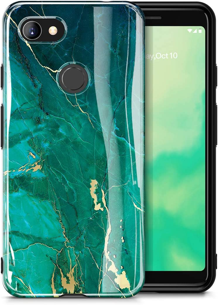 GVIEWIN Marble Google Pixel 3a Case, Ultra Slim Thin Glossy Soft TPU Rubber Gel Phone Case Cover Compatible with Google Pixel 3a/ Pixel 3 Lite 2019 (Will Not fit Pixel 3a XL) (Green/Gold)