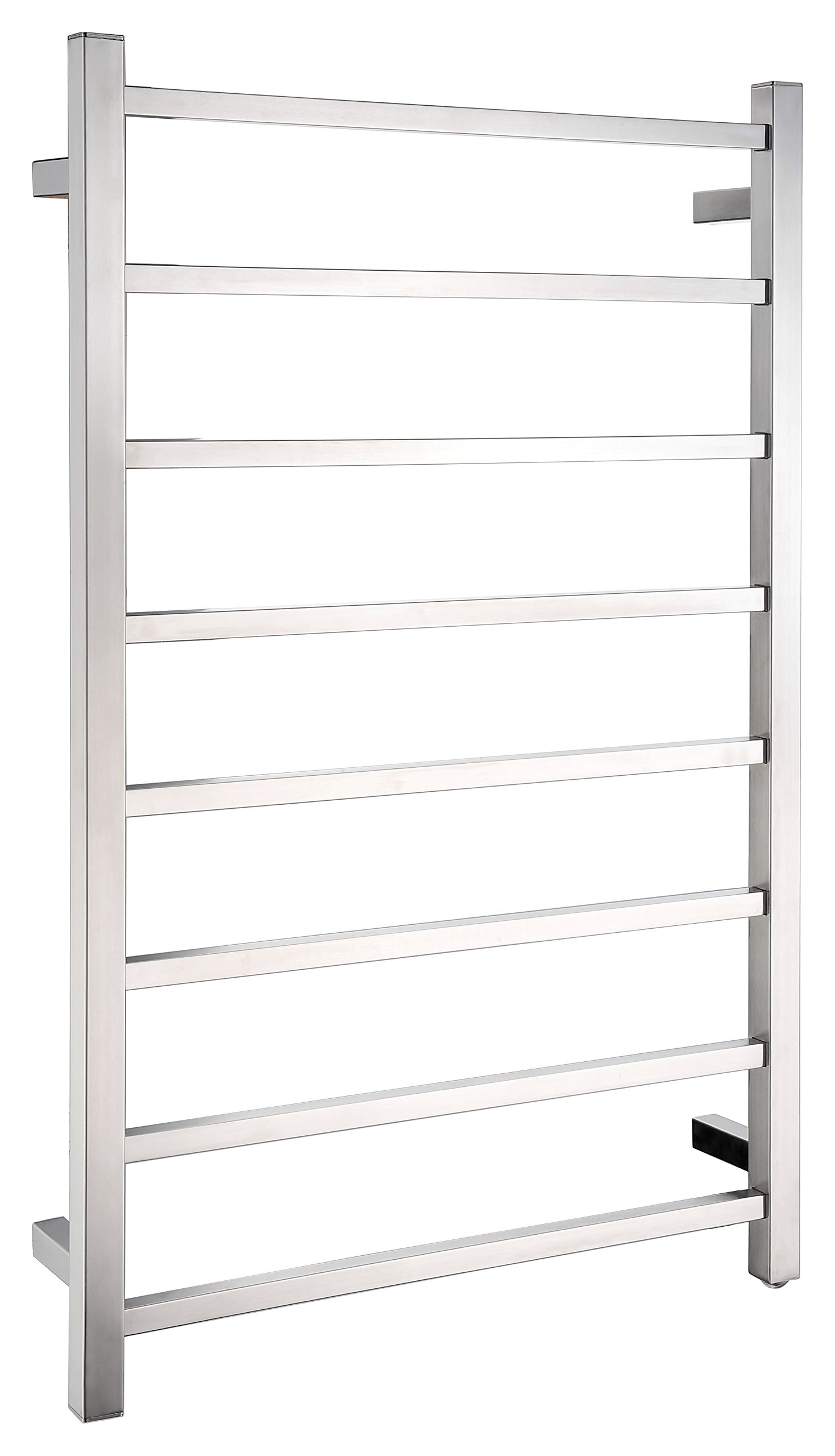 ANZZI Bell Modern 8-Bar Wall Mounted Towel Warmer in Brushed Nickel | Stainless Steel Electric Heater Tower Drying Rack for Bathrooms | TW-AZ026BN