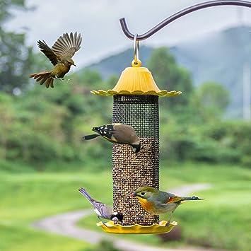 Salvaje Pájaro Alimentadores Colibrí Automático Alimentador con Techo De Metal Jardín Decoración Y Pájaro Buscando Al Amante De Las Aves. Cacoffay,Yellow: Amazon.es: Deportes y aire libre