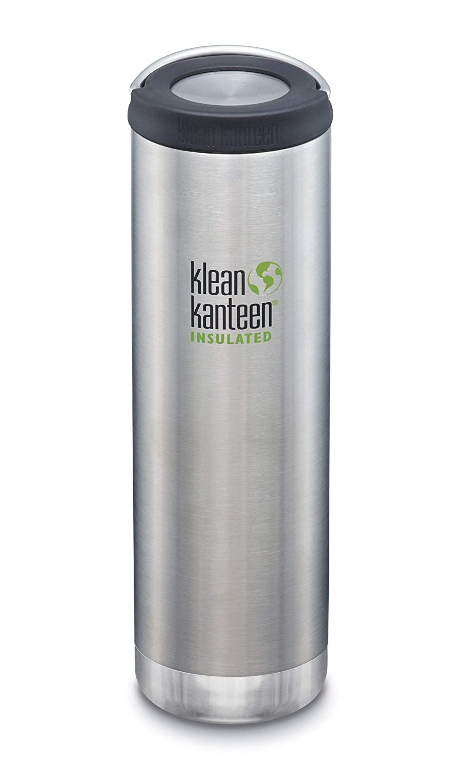Klean Kanteen TKWide Stainless Steel Double Wall Insulated Water Bottle with Insulated Wide Loop Cap, 20-Ounce, Brushed Stainless