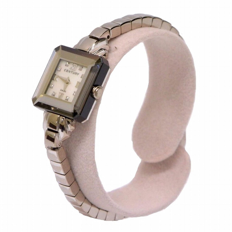 センチュリー タイムジェム TIME GEM ダイヤモンド 8P K18 18金 750WG 腕時計 クオーツ 電池 ホワイト ブラック シルバー ユニセックス d189086929 中古 B0759H8L4K