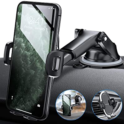 Amwanan Car Phone Mount, One-Touch Cell Phone Holder for Dashboard, Windshield and Air Vent with Suction Pad Compatible with iPhone, Samsung, LG, Google and Other Smartphones