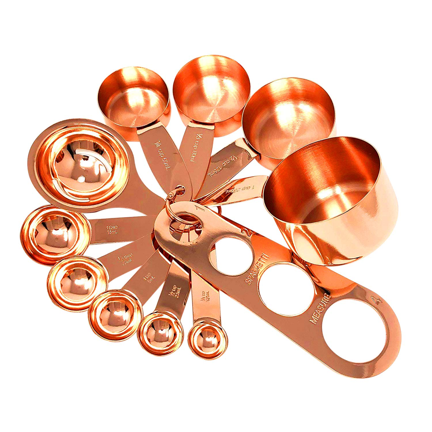 Copper Measuring Cups and Measuring Spoon Set in Rose Gold Stainless Steel Nesting Liquid and Dry Measuring Kitchen Set for Cooking by Homey Product