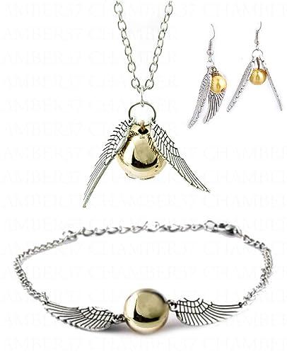 Parure complete 3 pieces Collier + Bracelet + Boucles d\u0027oreilles Harry  potter balle magique