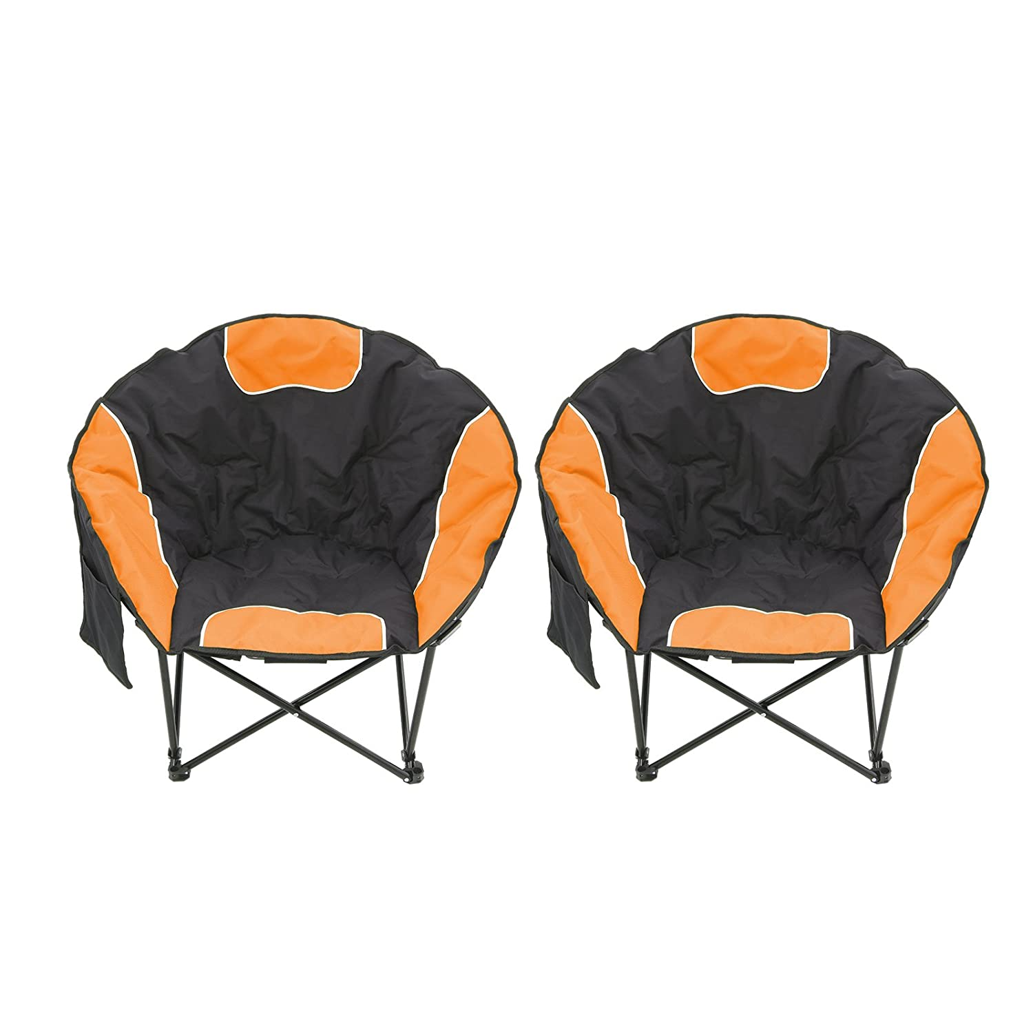 Magshion Folding Padded Round Camping Beach Chair with Storage Carry Bag Set of 2