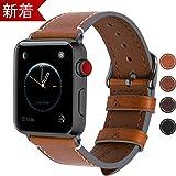 Apple Watch バンド 42mm/44mm,Fullmosa アップルウォッチバンド42mm/44mm ライトブラウン+スモーキーグレーバックル