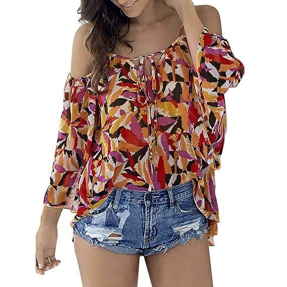 ❤ Camiseta Casual Para Mujer, Las Mujeres de la Moda de Verano Imprimir Tops Tie Tie Casual Camiseta Beach Blusa Tee Absolute: Amazon.es: Ropa y ...