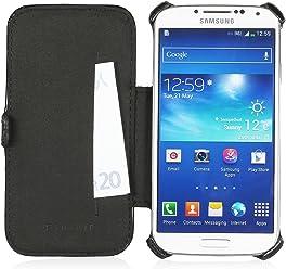 StilGut Custodia esclusiva Slimcase in similpelle con scomparto carte di credito per Samsung Galaxy S4 i9500 e i9505 - nero