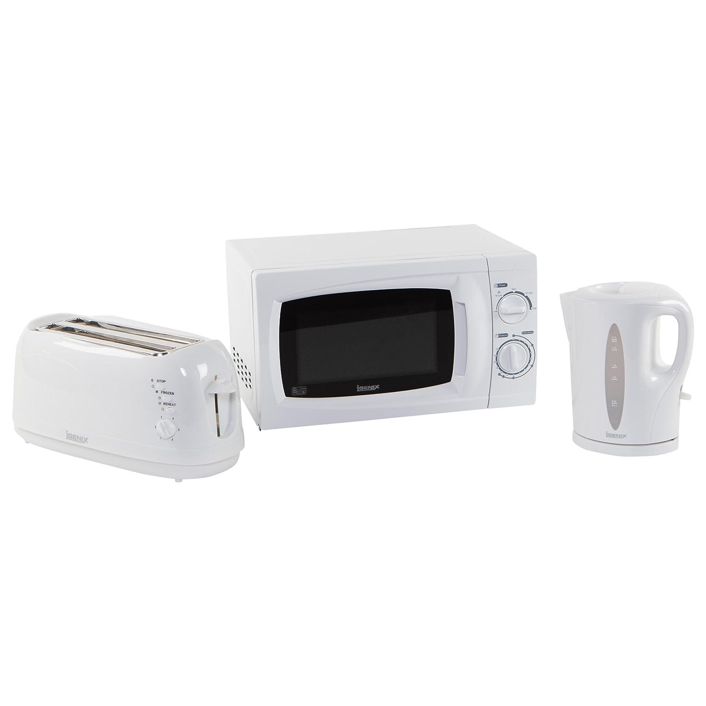 Igenix AMZ01, Set con bollitore da 1,7 l, tostapane per 4 fette e microonde, Bianco (White) IGPK04
