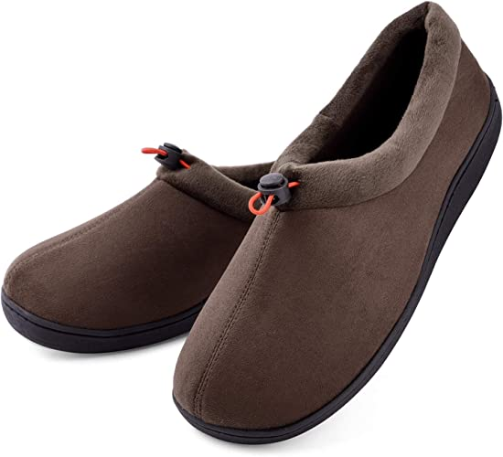 Men's Classic Cozy Warm Wool Micro Suede Moccasin Slippers House Shoes Size 10