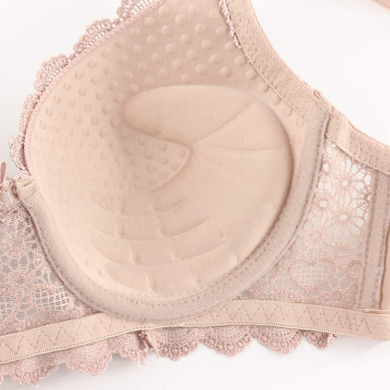 Women Bras Thick Cup Push Up Lace Back Closure Plus Size Lingerie,Cameo,B,46