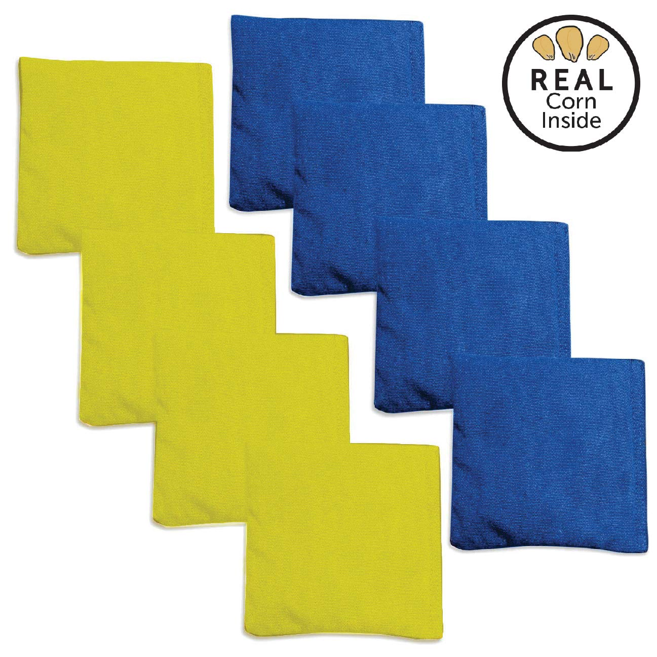 Corn Filled Cornhole Bags - Set of 8 Bean Bags for Corn Hole Game - Regulation Size & Weight - Blue & Yellow