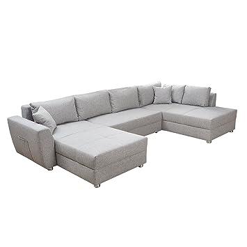 Riess Ambiente Modernes Sofa Milano Grau Schlafsofa Bettkasten
