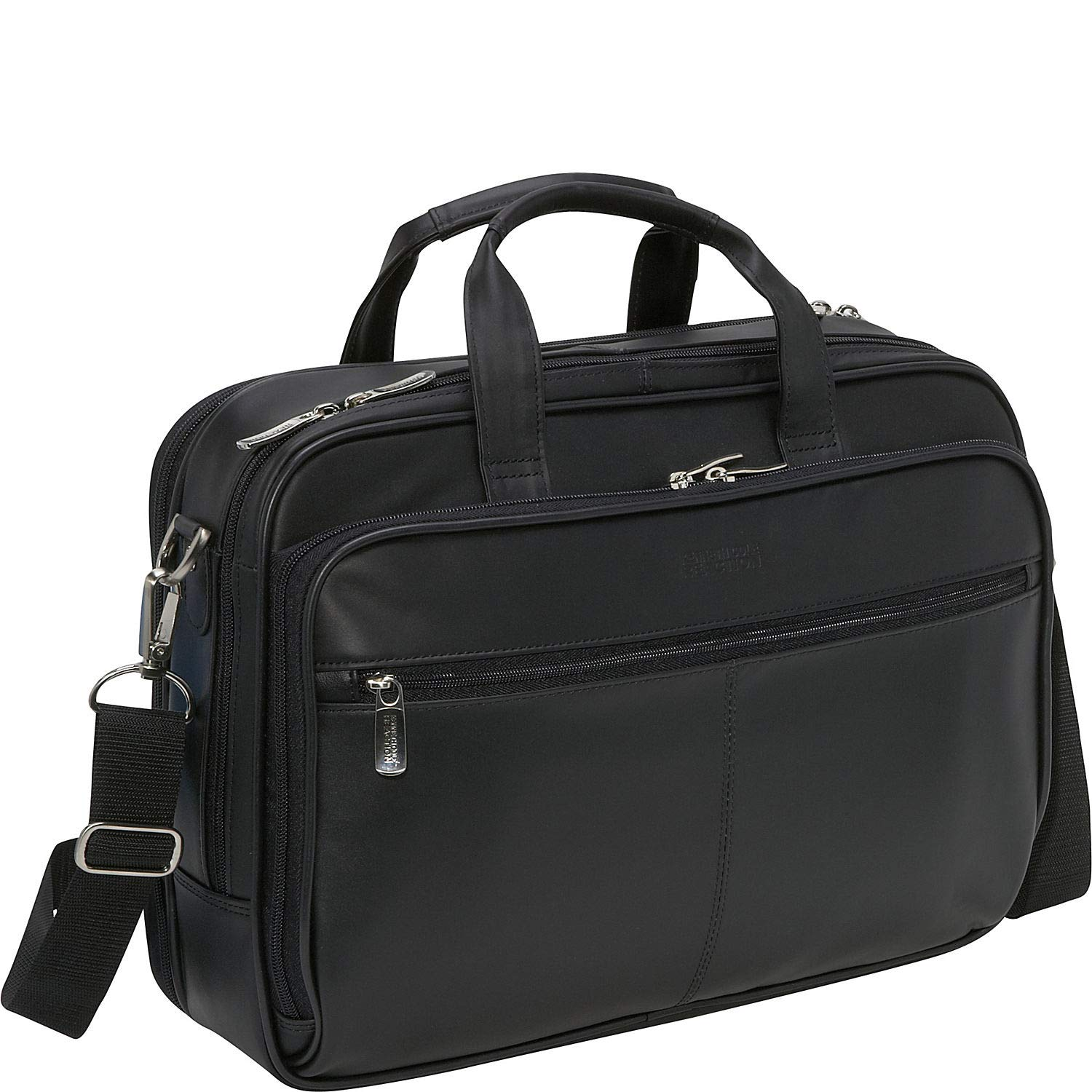 Kenneth Cole Reaction Genuine Leather Dual Compartment 15.4 Laptop Portfolio, Black Heritage-Kenneth Cole Luggage 524965