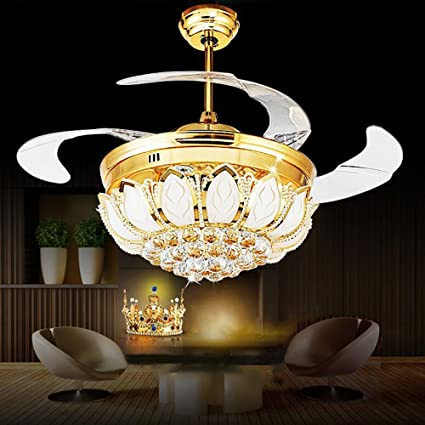 retractable lighting fixtures. Jubilant Lifestyle Modern Crystal Remote Control Transparent Acrylic 4 Blade Retractable Ceiling Fan With Chandelier Lamp Lighting Fixtures G
