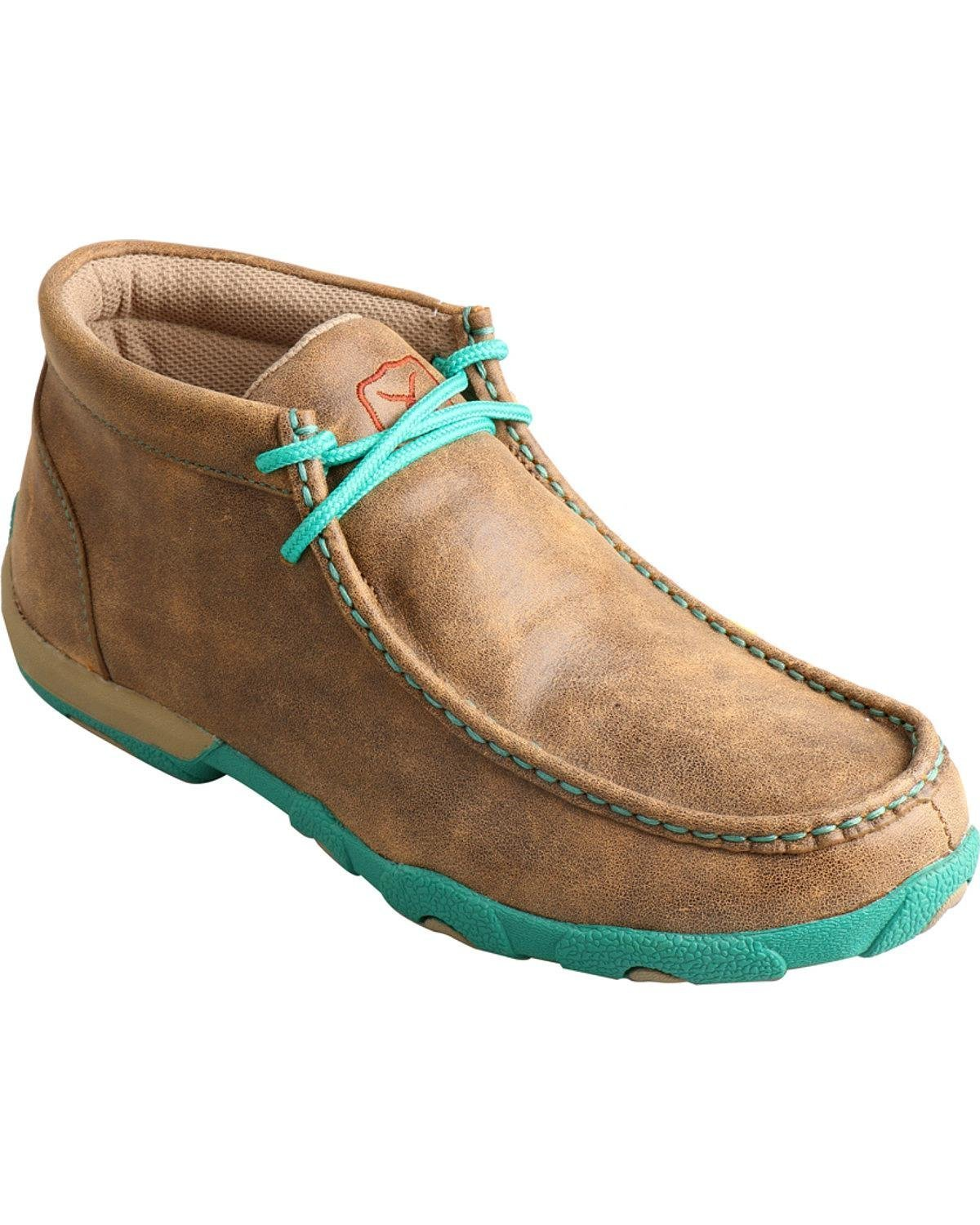 Twisted X Ladies Turquoise Lace Driving Mocs B01EU4MPP4 7.5 B(M) US|Bomber