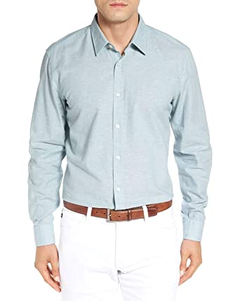 d1513d025 Image Unavailable. Image not available for. Color: Hugo Boss Men's Ronni  Slim Fit Sport Shirt Small ...