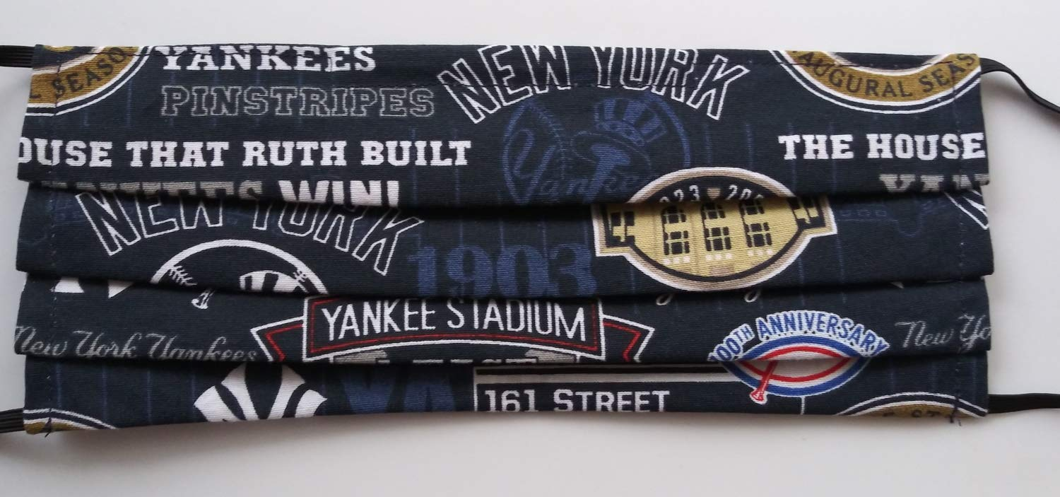 Amazon Com Ny Yankees Face Mask Adult Or Kids Cotton Fabric Reusable Washable Reversible Nose Wire Pleated Usa Handmade